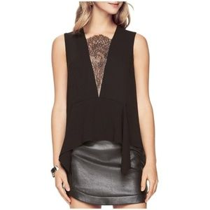 BCBGMAXAZRIA 'Whitlee' Lace Inset Career Top XXS